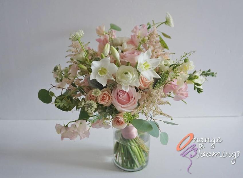 Orange Blooming Wedding Bouquet 結婚花球/送禮花束-3-婚禮當日